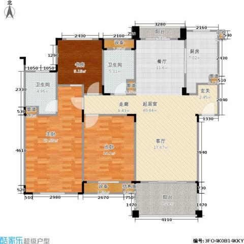 绿城桂花城3室0厅2卫1厨130.00㎡户型图