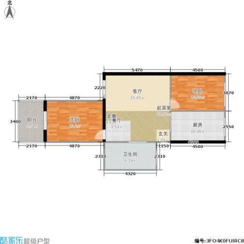 东都公寓2室0厅1卫1厨90.00㎡户型图