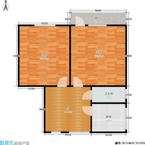 东清大厦2室0厅1卫1厨77.00㎡户型图