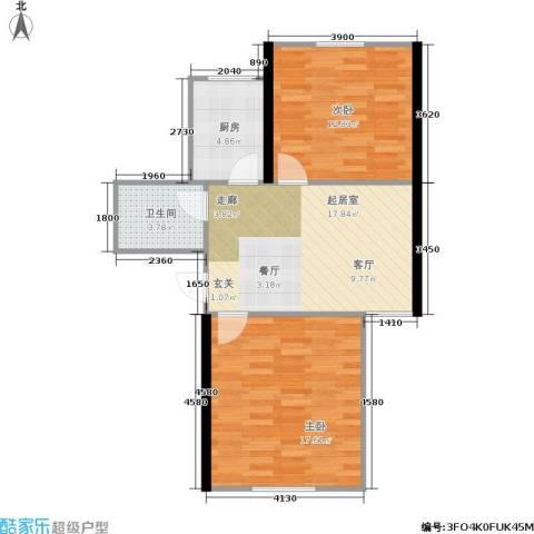 东都公寓2室0厅1卫1厨62.00㎡户型图