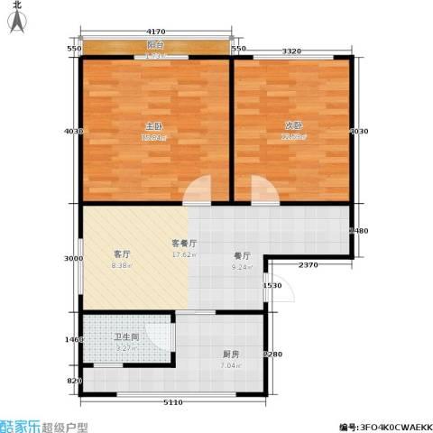 德胜新村南2室1厅1卫1厨63.00㎡户型图