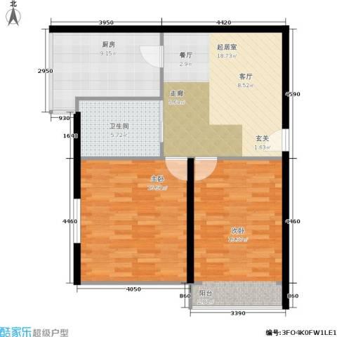 景芳新五区2室0厅1卫1厨73.00㎡户型图