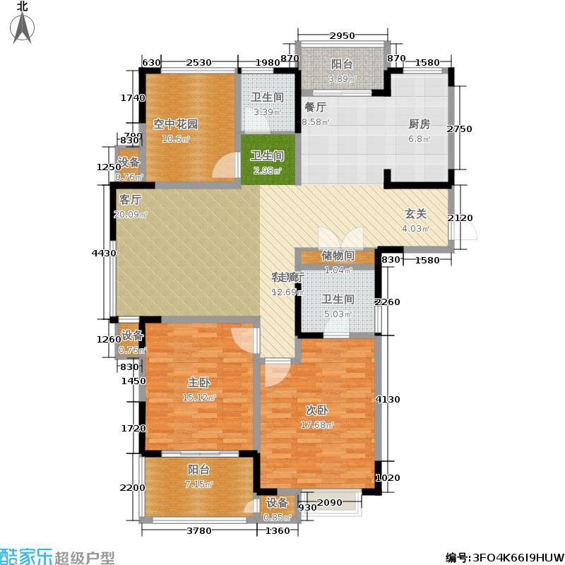 翡翠珑湾130.66㎡H1户型 两室两厅两卫+空中花园户型2室2厅2卫