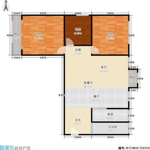 东清大厦3室1厅1卫1厨110.00㎡户型图