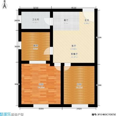 中山北路小区2室1厅1卫1厨75.00㎡户型图