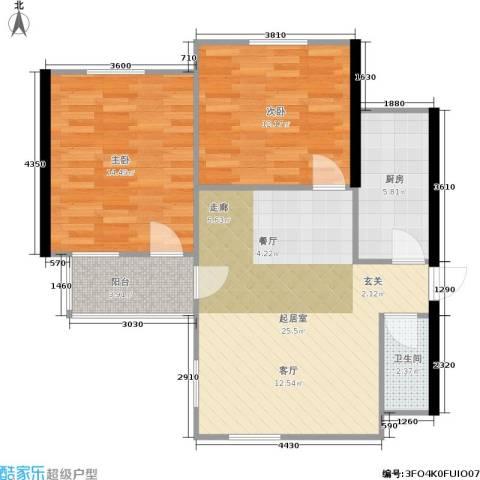 东都公寓2室0厅1卫1厨70.00㎡户型图