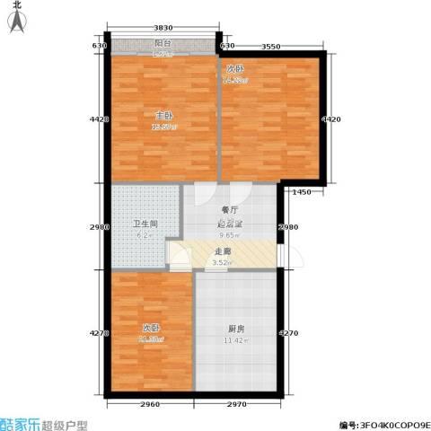 三里家园二区3室0厅1卫1厨78.00㎡户型图