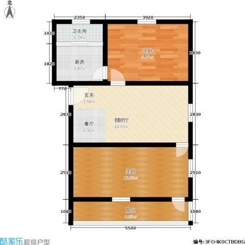 永丰巷2室1厅1卫1厨53.00㎡户型图