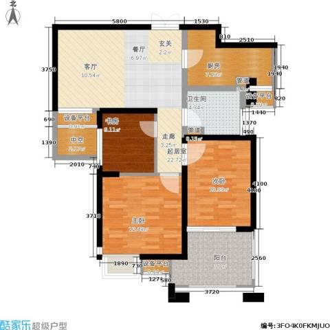 世茂・江滨花园3室0厅1卫1厨89.00㎡户型图