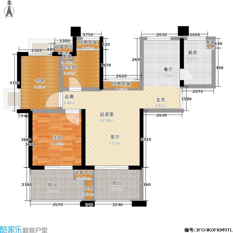 世茂江滨花园89.00㎡12号楼4-28面积8900m户型