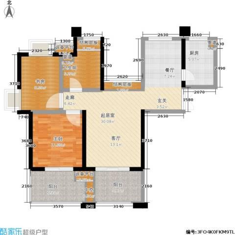 世茂・江滨花园2室0厅1卫1厨89.00㎡户型图