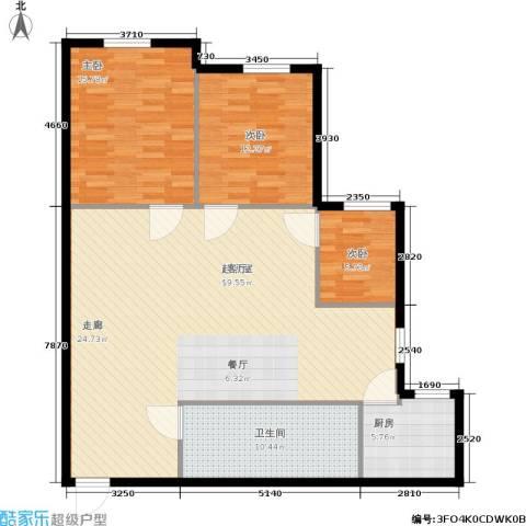 东园高层公寓3室0厅1卫1厨110.00㎡户型图