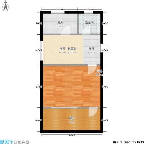 东园高层公寓1室0厅1卫1厨56.00㎡户型图