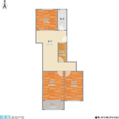 水西门大街小区3室1厅1卫1厨88.00㎡户型图