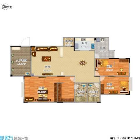富龙翡翠欧庭3室1厅2卫1厨210.00㎡户型图