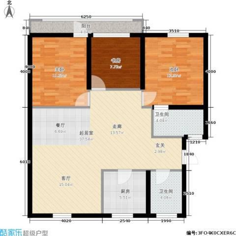 静安花园3室0厅2卫1厨97.00㎡户型图