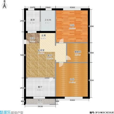 静安花园2室1厅1卫1厨97.00㎡户型图