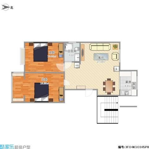 煤机宿舍2室1厅1卫1厨86.00㎡户型图