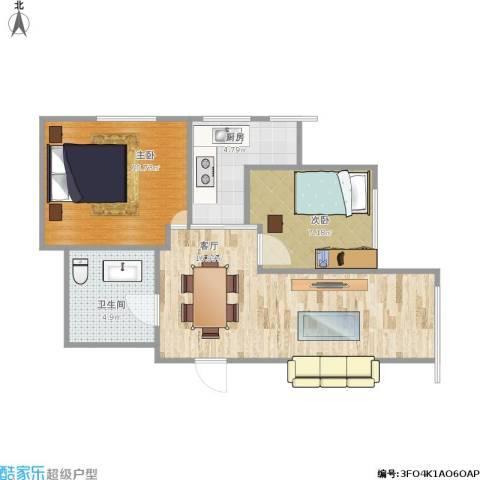 明光水岸2室1厅1卫1厨61.00㎡户型图
