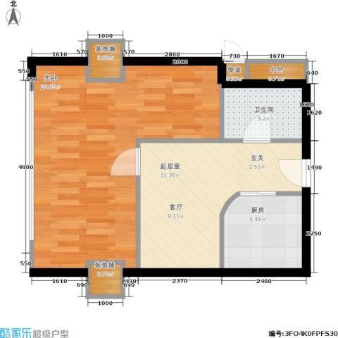 大都文苑风情1室0厅1卫1厨68.00㎡户型图