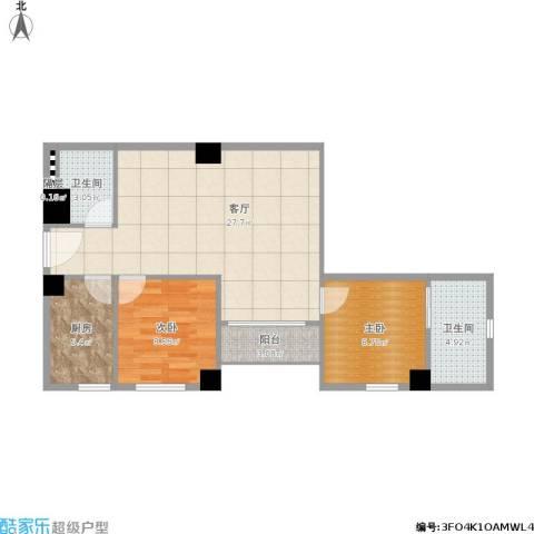 海运轩2室1厅2卫1厨87.00㎡户型图