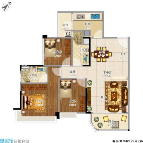 碧桂园天麓山3室1厅2卫1厨102.00㎡户型图