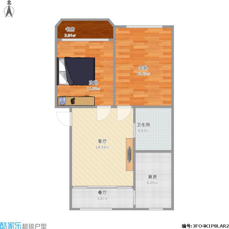 仁和花苑67方户型两室两厅的复制方案1