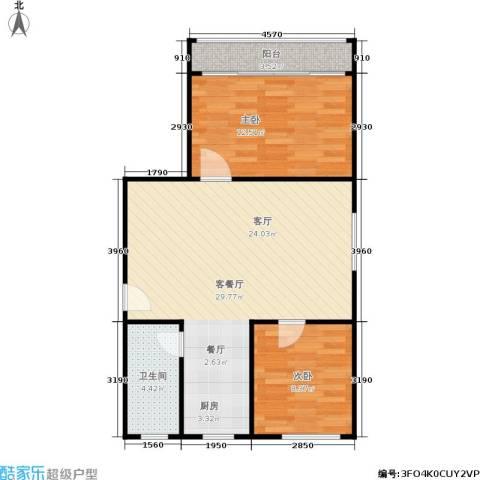 三里新城兰苑2室1厅1卫0厨63.00㎡户型图