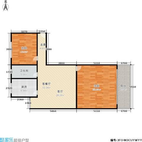 三里新城兰苑2室1厅1卫1厨97.00㎡户型图