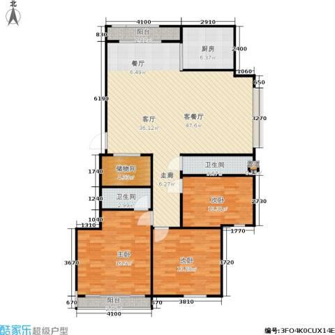 三里新城兰苑3室1厅2卫1厨119.00㎡户型图