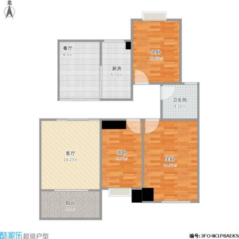 香缇豪庭3室2厅1卫1厨98.00㎡户型图