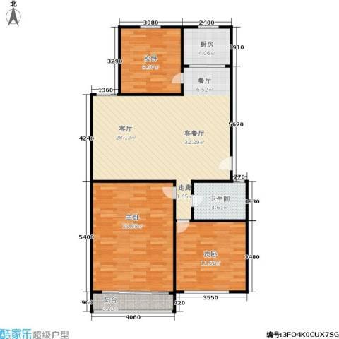 三里新城3室1厅1卫1厨92.00㎡户型图