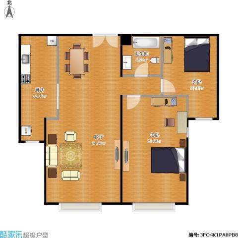 园艺御景2室1厅1卫1厨127.00㎡户型图