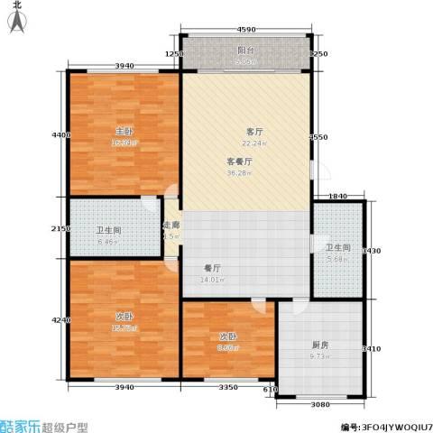 三里新城3室1厅2卫1厨111.00㎡户型图