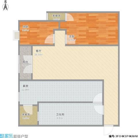 翠城花园2室1厅1卫1厨96.00㎡户型图