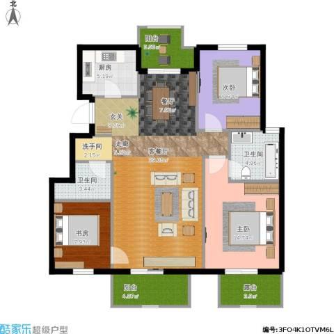 首开香溪郡3室1厅2卫1厨137.00㎡户型图
