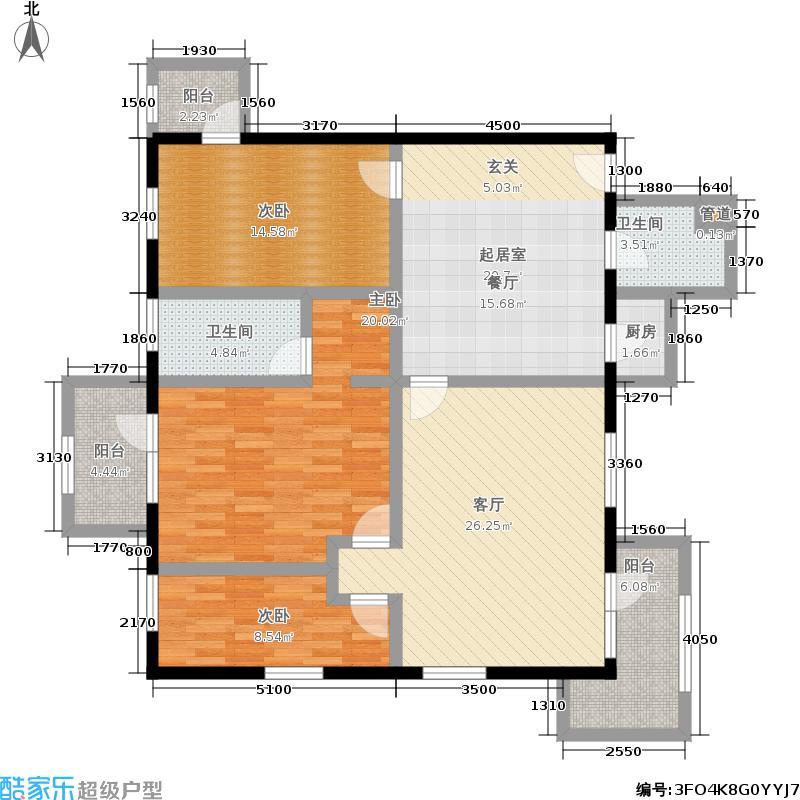 丽都东方国际公寓156.85㎡户型A三室两厅两卫户型