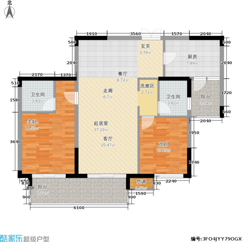 麒麟山庄104.00㎡二期21栋标准层h6户型