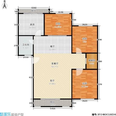 三里新城3室1厅1卫1厨123.00㎡户型图