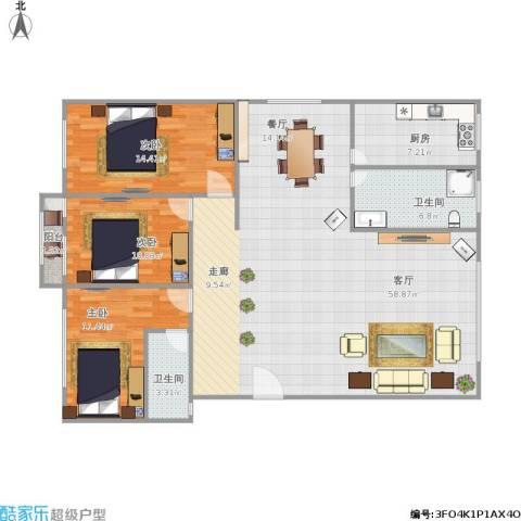 南山明珠广场3室1厅2卫1厨151.00㎡户型图