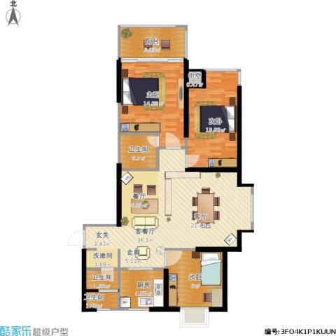 滨河新天地3室1厅3卫1厨126.00㎡户型图