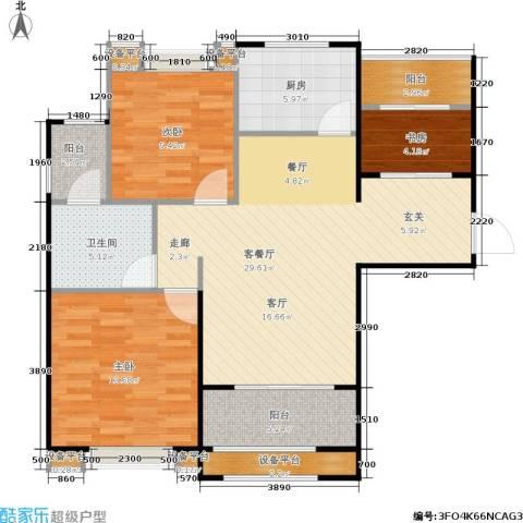 新里米兰公寓3室1厅1卫1厨88.00㎡户型图