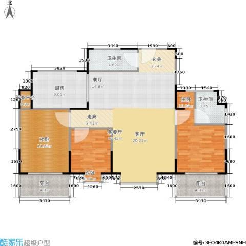 山大新苑3室1厅2卫1厨144.00㎡户型图