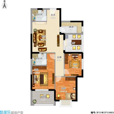 仕府公馆3室2厅2卫1厨124.00㎡户型图