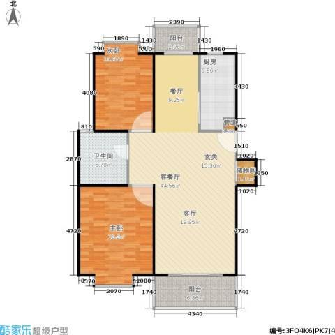 爱盛家园2室1厅1卫1厨106.00㎡户型图