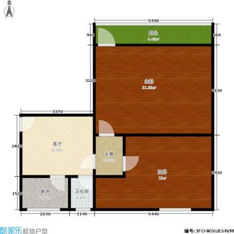 中兴公寓2室1厅1卫1厨61.00㎡户型图