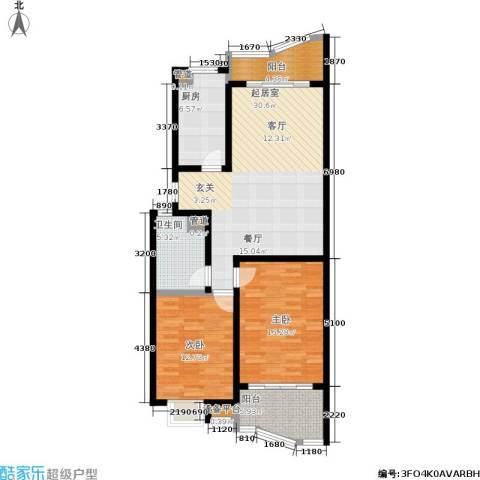 秋涛雅苑2室0厅1卫1厨86.00㎡户型图