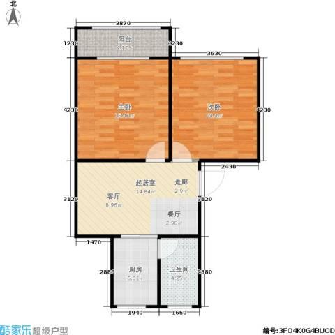 潮鸣苑2室0厅1卫1厨62.00㎡户型图
