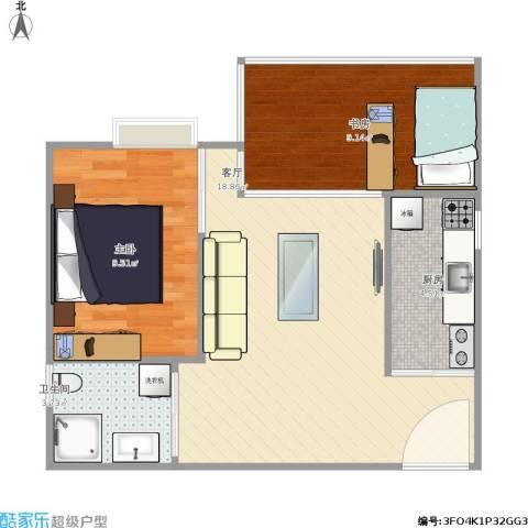 龙凤呈祥2室1厅1卫1厨62.00㎡户型图