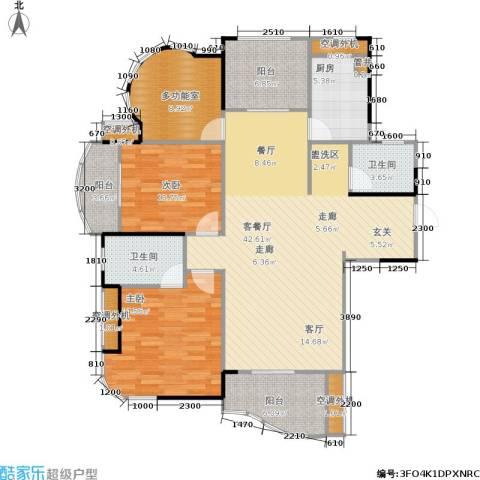 公园世家2室1厅2卫1厨121.00㎡户型图